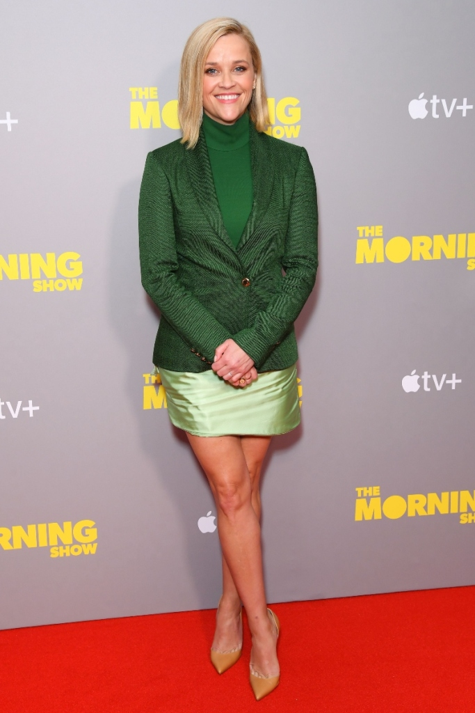 the morning show, london, reese witherspoon, jennifer aniston, louboutin, heels, green, black