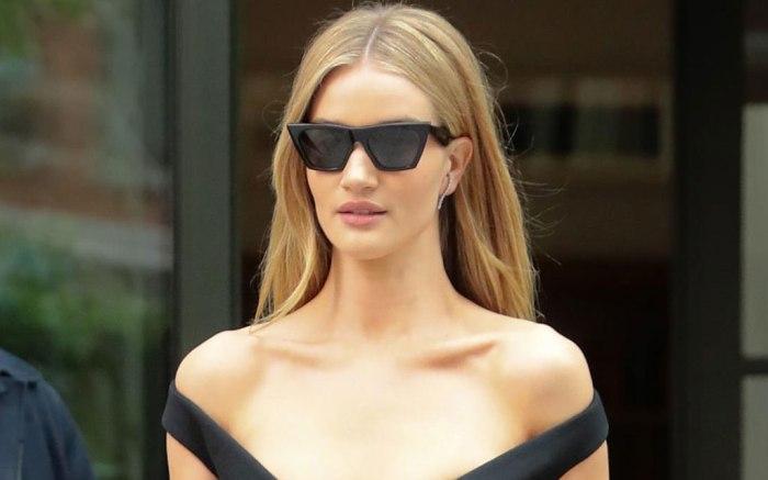 Rosie Huntington-Whiteley, celebrity style, celine sunglasses, blonde, nyc, street style, prada dress