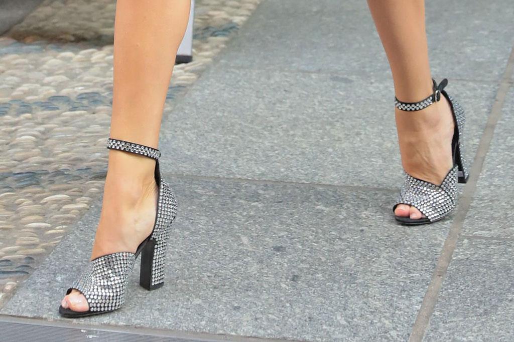 Rosie Huntington-Whiteley, prada, crystal-embellished sandals, legs, feet, celebrity shoe style, pedicure, toes, nyc, street style
