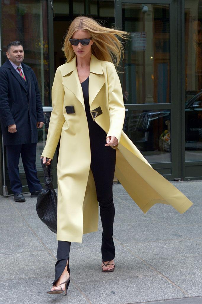 Rosie Huntington-Whiteley, celebrity style, bottega veneta, thong sandals, high heels, street style, square toes