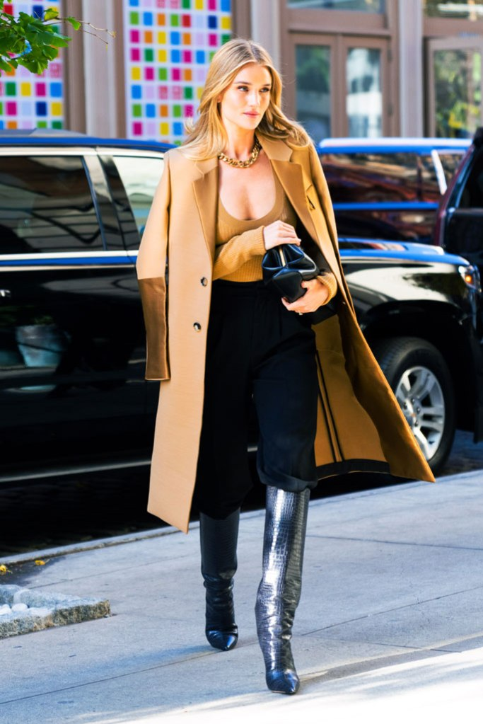 Rosie Huntington-Whiteley, celebrity style, jimmy choo boots, croc-embossed boots, celebrity style, nyc, street style, bottega veneta outfit, blonde hair