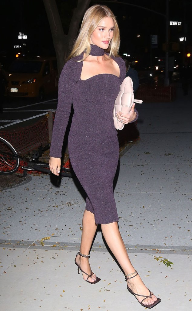 Rosie Huntington-Whiteley, bottega veneta, purple dress, high-heeled thong sandals, celebrity style, nyc, street style