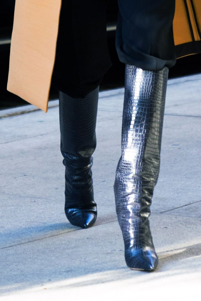 Rosie Huntington-Whiteley, jimmy choo mavis boots, croc-print boots, knee-high boots, bottega veneta, celebrity style, new york city, november 2019, street style