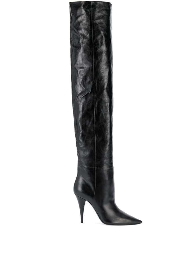saint laurent, thigh-high boots, leather