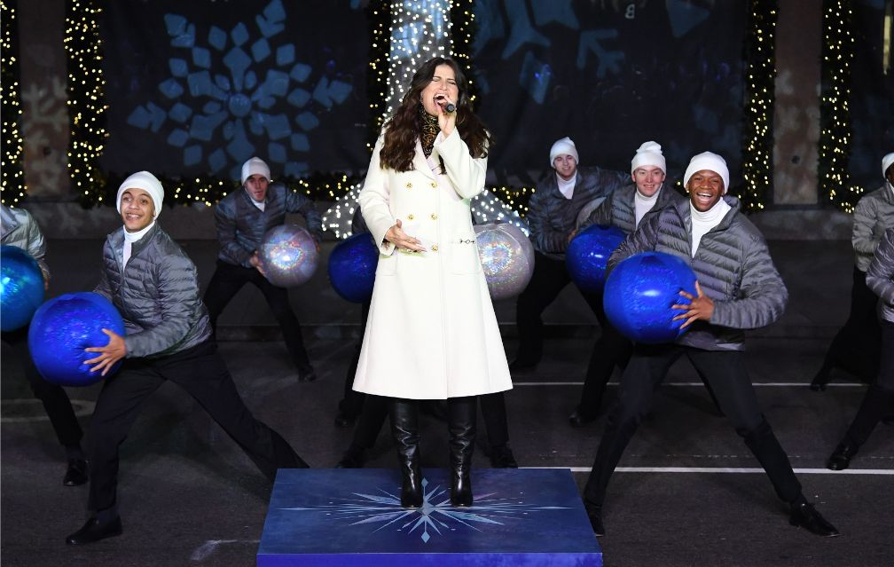 at the Saks Fifth Avenue holiday window unveiling in New York, Nov. 25, idina menzel