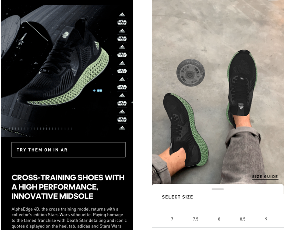 The AR function is available to all users with the Adidas iOS mobile app.