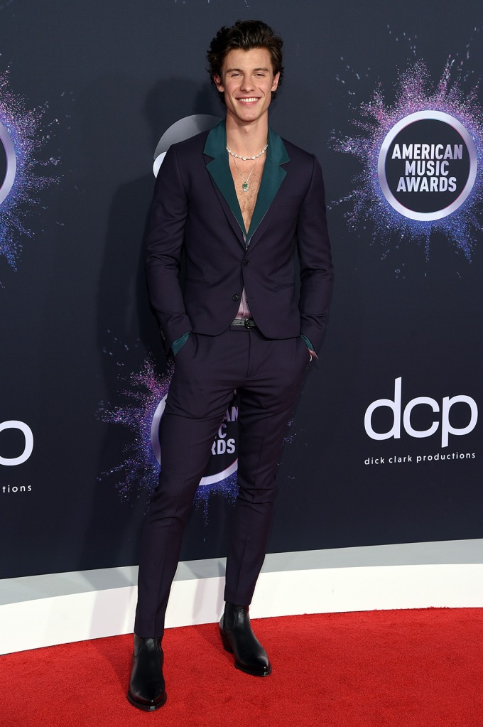 Shawn Mendes, pantsuit, 47th Annual American Music Awards, Arrivals, Microsoft Theater, Los Angeles, USA - 24 Nov 2019