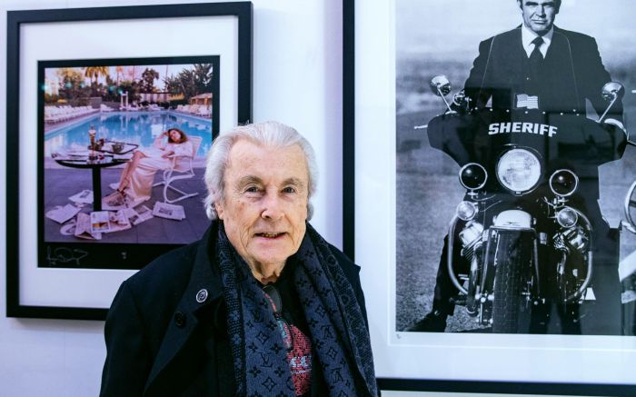 Legendary Celebrity Photographer, Terry O'Neill, in conversation at Box Galleries, Chelsea, London.He discusses 'Starstruck', a retrospective of some of his iconic work of celebrities including Sean Connery, The Rolling Stones and David Bowie as he celebrates his sixth decade behind the camera.In Conversation with Terry O'Neill, London, UK - 21Mar 2019