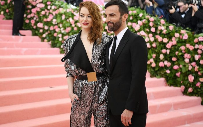 Emma Stone and Nicolas GhesquiereCostume Institute Benefit celebrating the opening of Camp: Notes on Fashion, Arrivals, The Metropolitan Museum of Art, New York, USA - 06 May 2019