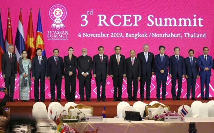 (L-R) Singapore's Prime Minister Lee Hsien Loong, Myanmar's State Counselor Aung San Suu Kyi, Laos Prime Minister Thongloun Sisoulith, Cambodia's Prime Minister Hun Sen, New Zealand Prime Minister Jacinta Ardern, India's Prime Minister Narendra Modi, China's Premier Li Keqiang, Thailand's Prime Minister Prayut Chan-o-cha, Vietnam's Prime Minister Nguyen Xuan Phuc, Prime Minister of Australia Scott Morrison, Japan's Prime Minister Shinzo Abe, South Korea's President Moon Jae-in, Sultan of Brunei Hassanal Bolkiah and Indonesia's President Joko Widodo pose for a group photo during the 3rd RCEP (Regional Comprehensive Economic Partnership) Summit as part of the 35th Association of Southeast Asian Nations (ASEAN) Summit at IMPACT Muang Thong Thani, a northern suburb of Bangkok in Nonthaburi province, Thailand, 04 November 2019. Thailand is hosting the 35th ASEAN Summit, which will run from 02 to 04 November 2019.The 35th ASEAN Summit and Related Summits, in Bangkok, Nonthaburi, Thailand - 04 Nov 2019