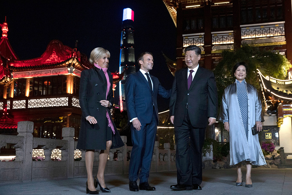 brigitte macron, louis vuitton shoes, block heels, graphic print pumps, celebrity style, pink scarf, blond hair, Chinese President Xi Jinping (2-R) and Chinese First Lady Peng Liyuan (R) stand next to French President Emmanuel Macron (2-L) and French First Lady Brigitte Macron (L) as they pose for a group photo after having dinner at the Yu Garden district in Shanghai, China, 05 November 2019.French President Emmanuel Macron visits Shanghai, China - 05 Nov 2019