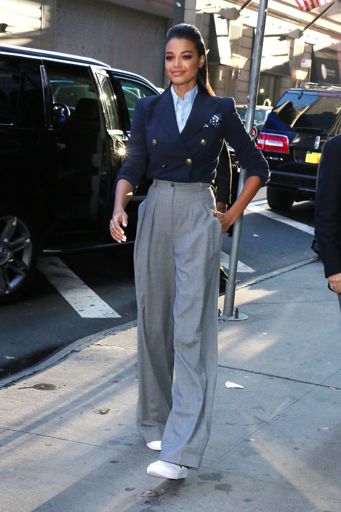 Ella Balinska, gray pants, navy cropped jacket, blue shirt, nike sneakers, celebrity style, 'Good Morning America' TV show, New York, USA - 06 Nov 2019