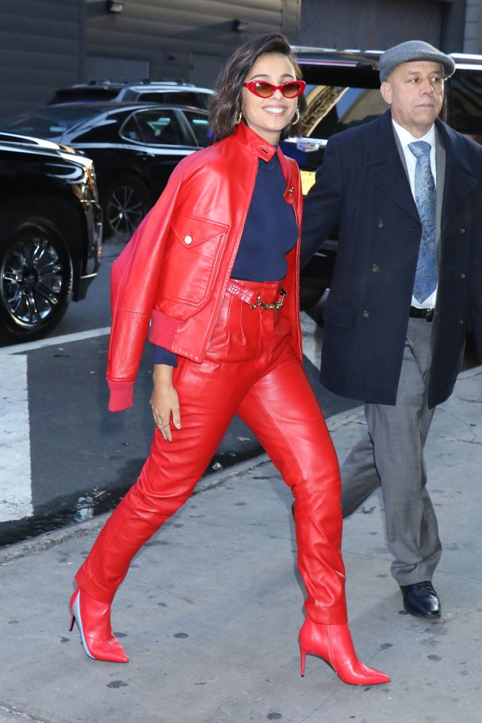 Naomi Scott', red boots, leather pants, bomber jacket, red outfit, blue shirt, celebrity style, Good Morning America' TV show, New York, USA - 06 Nov 2019