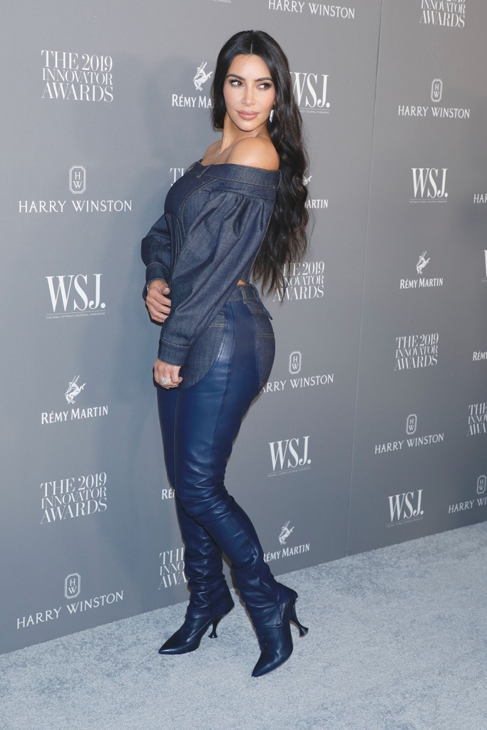 Kim Kardashian, burberry, canadian tuxedo, double denim, celebrity style, leather chaps, blue boots, red carpet, kanye West9th Annual WSJ. Magazine Innovator Awards, Arrivals, The Museum of Modern Art, New York, USA - 06 Nov 2019