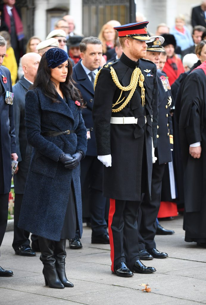 Meghan markle, black leather slouch boots, navy coat, fascinator, leather gloves, royal style, Duchess of Sussex, Prince HarryWestminster Abbey Field of Remembrance opening, London, UK - 07 Nov 2019