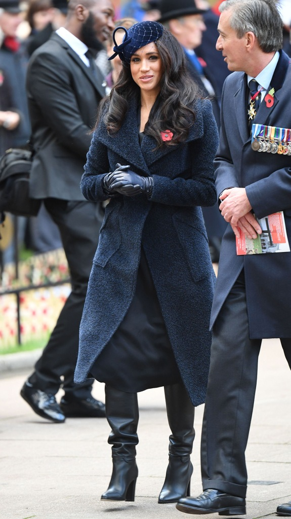 Meghan Markle, slouch boots, black leather boots, royal style, westminster abbey, navy coat, leather gloves, fascinator, Meghan Duchess of SussexWestminster Abbey Field of Remembrance opening, London, UK - 07 Nov 2019