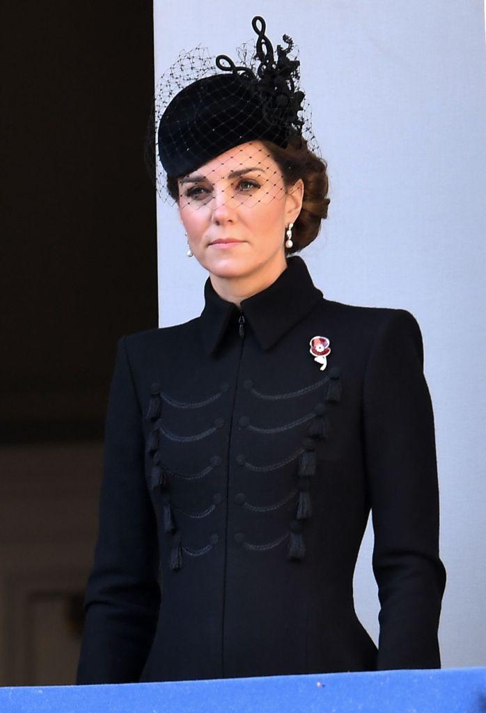 kate middleton, alexander mcqueen coat, philip treacy hat, poppy brooch, Catherine Duchess of CambridgeRemembrance Day Service, The Cenotaph, Whitehall, London, UK - 10 Nov 2019