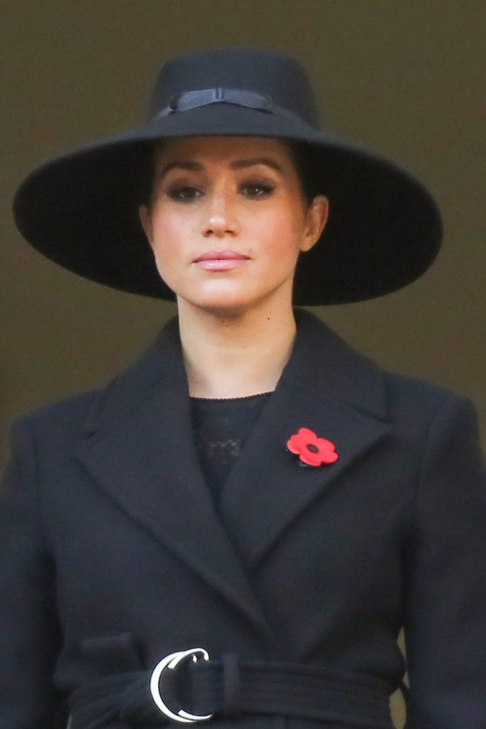 Meghan markle, remembrance day, stephen jones, hat, poppy brooch, black coat, celebrity style, royal style, Duchess of Sussex attend the Remembrance Sunday ceremony at the Cenotaph memorial in Whitehall, central London. Remembrance Sunday is held each year to commemorate the service men and women who fought in past military conflicts.Remembrance Day Service, The Cenotaph, Whitehall, London, UK - 10 Nov 2019