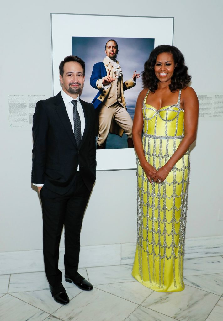 michelle obama, schiarparelli, yellow gown, couture dress, daniel roseberry, custom dress, Lin-Manuel Miranda;Mrs. Michelle Obama. Lin-Manuel Miranda and Mrs. Michelle Obama attend The 2019 American Portrait Gala at Smithsonian's National Portrait Gallery, in WashingtonAmerican Portrait Gala, Washington, USA - 17 Nov 2019