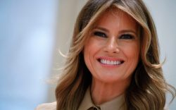 Melania Trump, first lady, smiles during