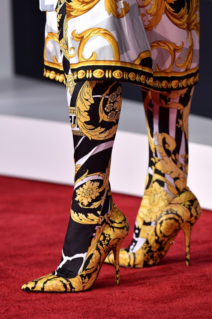 Kesha, versace, stilettos, pumps, printed outfit, tights, shoe detail47th Annual American Music Awards, Arrivals, Microsoft Theater, Los Angeles, USA - 24 Nov 2019