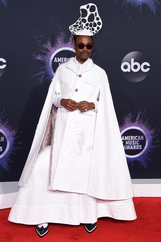 Billy Porter, amas, red carpet, stephen jones hat, thom browne, spring 2020, gown, cape, wingtips, 47th Annual American Music Awards, Arrivals, Microsoft Theater, Los Angeles, USA - 24 Nov 2019