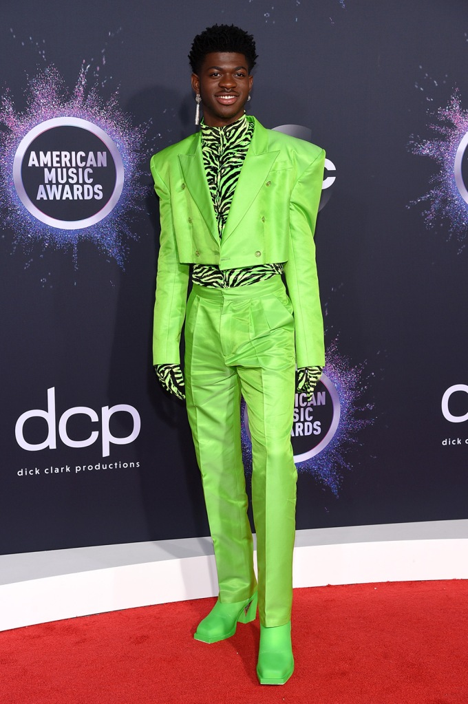 Lil Nas X, christopher john rogers, neon green suit, zebra print shirt, square toe shoes, 47th Annual American Music Awards, Arrivals, Microsoft Theater, Los Angeles, USA - 24 Nov 2019