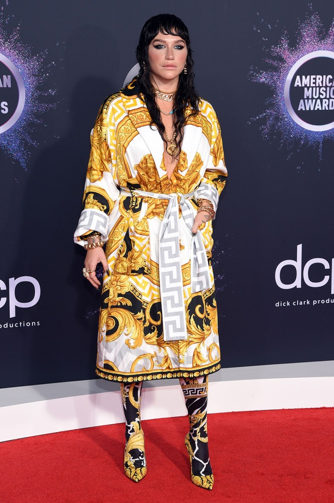 Kesha, versace, stilettos, robe, printed outfit, 47th Annual American Music Awards, Arrivals, Microsoft Theater, Los Angeles, USA - 24 Nov 2019