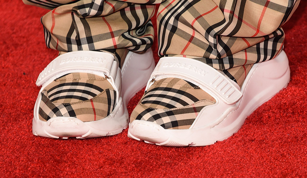 Billie Eilish, burberry shoes, sneakers, velcro shoes, celebrity style, plaid shoes, shoe detail47th Annual American Music Awards, Arrivals, Microsoft Theater, Los Angeles, USA - 24 Nov 2019