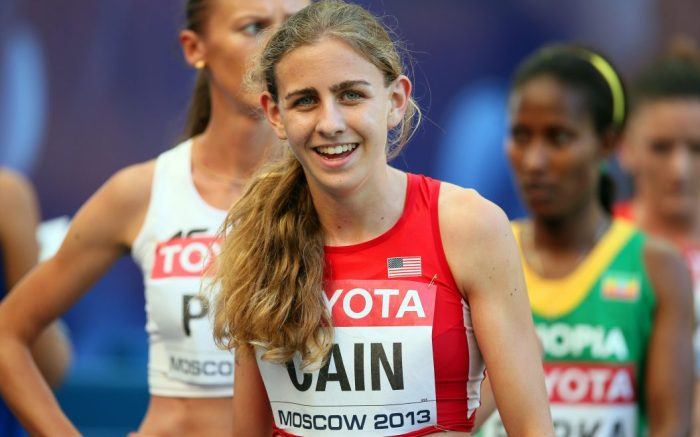 Mary Cain of the Usa Reacts During the Women's 1 500m Heats at the 14th Iaaf World Championships at Luzhniki Stadium in Moscow Russia 11 August 2013 Russian Federation MoscowRussia Iaaf Athletics World Championships Moscow 2013 - Aug 2013