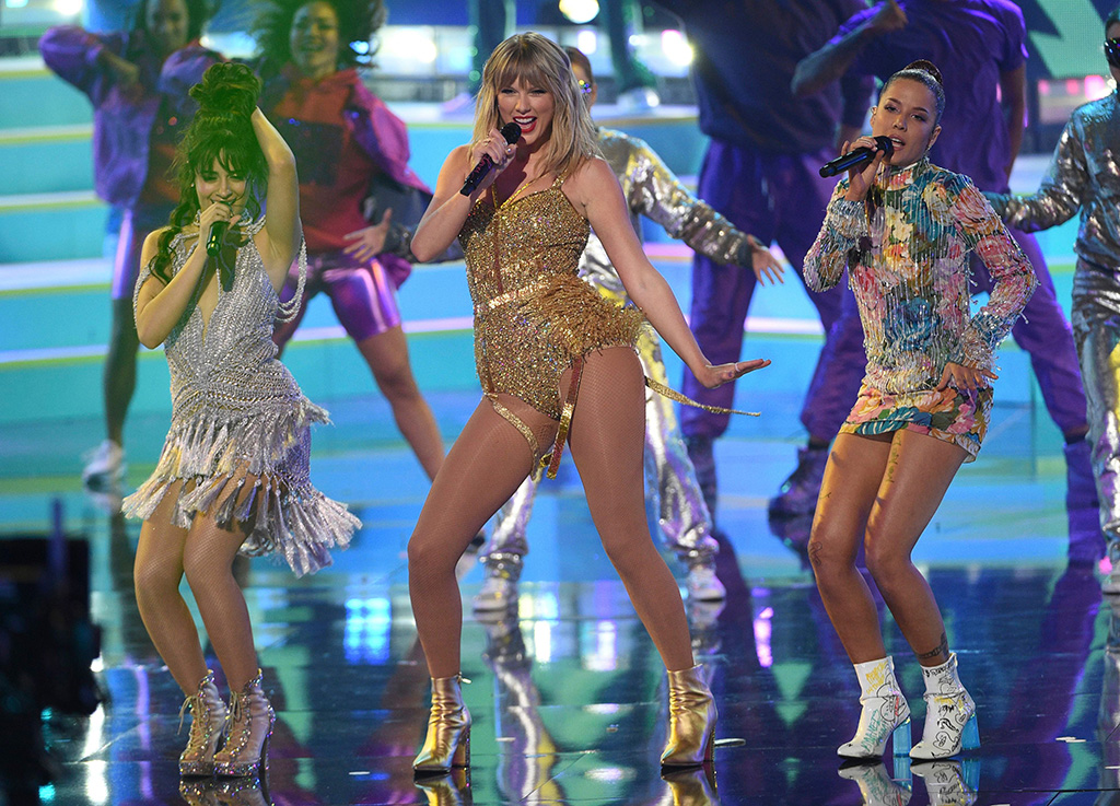 Camila Cabello, Taylor Swift, Halsey. Camila Cabello, from left, Taylor Swift and Halsey perform at the American Music Awards, at the Microsoft Theater in Los Angeles2019 American Music Awards - Show, Los Angeles, USA - 24 Nov 2019