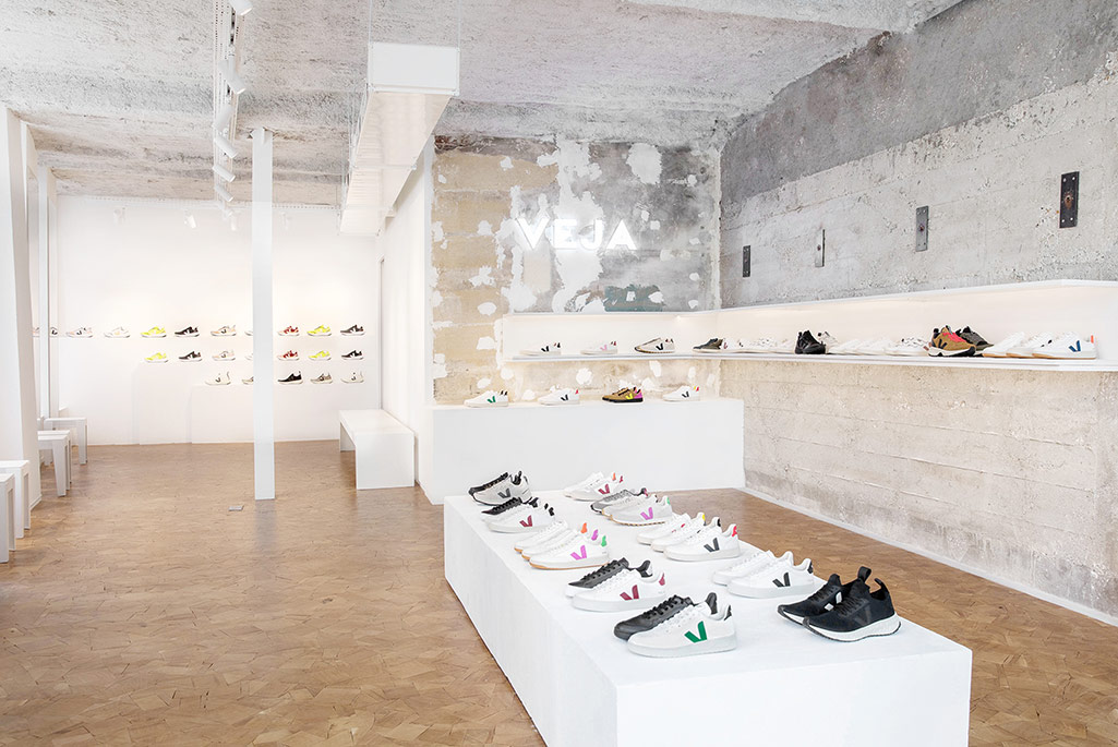 Interior of the new ecologically responsible Veja store in Paris' Marais district.