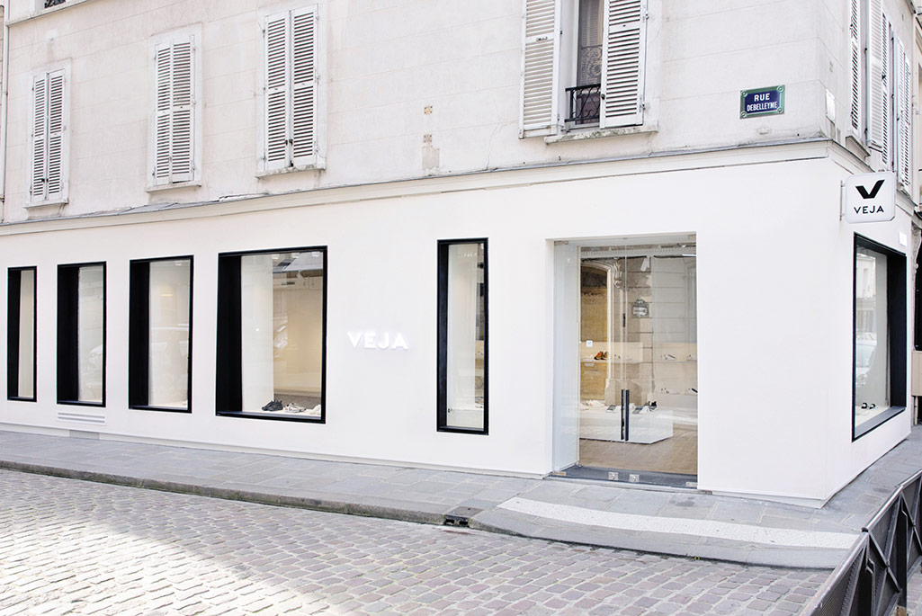 Exterior of the new ecologically responsible Veja store in Paris' Marais district.