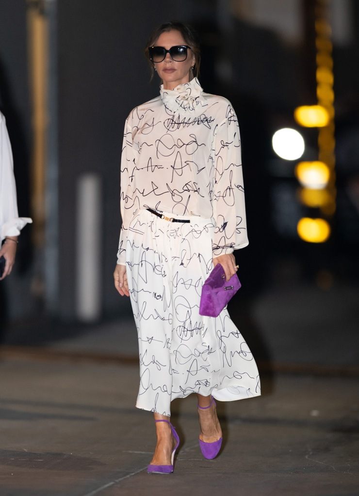 Victoria Beckham', celebrity style, street style, victoria beckham spring 2020, skirt, shirt, hermes kelly bag, purple pumps, Jimmy Kimmel Live!' TV show, Los Angeles, USA - 19 Nov 2019Wearing Own Collection Same Outfit as catwalk model *10411743w