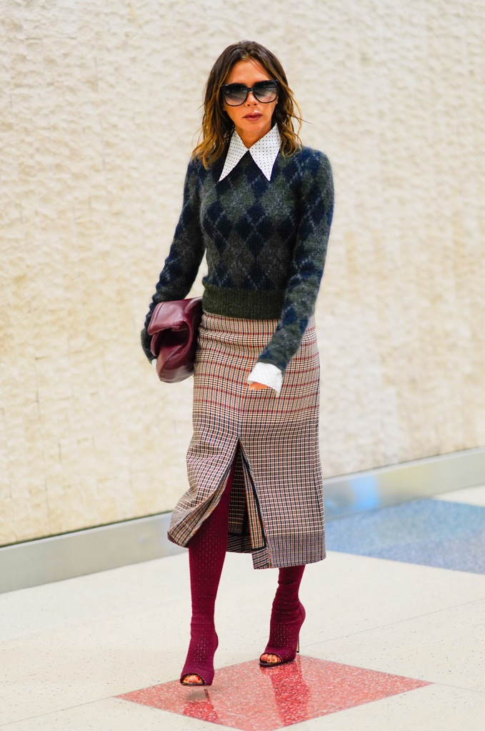 Victoria Beckham, , peep-toe boots, vb collection, pedicure, toes, feet, celebrity style, airport style, fall 2019, nyc, argyle sweater, midi skirt, at JFK Airport in New YorkPictured: Victoria BeckhamRef: SPL5126786 051119 NON-EXCLUSIVEPicture by: SplashNews.comSplash News and PicturesLos Angeles: 310-821-2666New York: 212-619-2666London: +44 (0)20 7644 7656Berlin: +49 175 3764 166photodesk@splashnews.comWorld Rights, No Portugal Rights