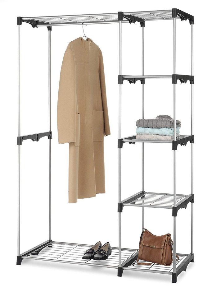 whitmor double rod freestanding closet organizer