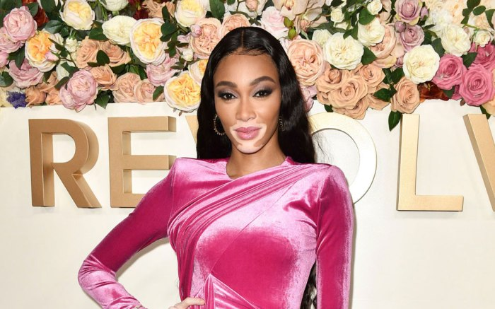Winnie Harlow, Victorian styled shoes, Revolve Awards, pink dress