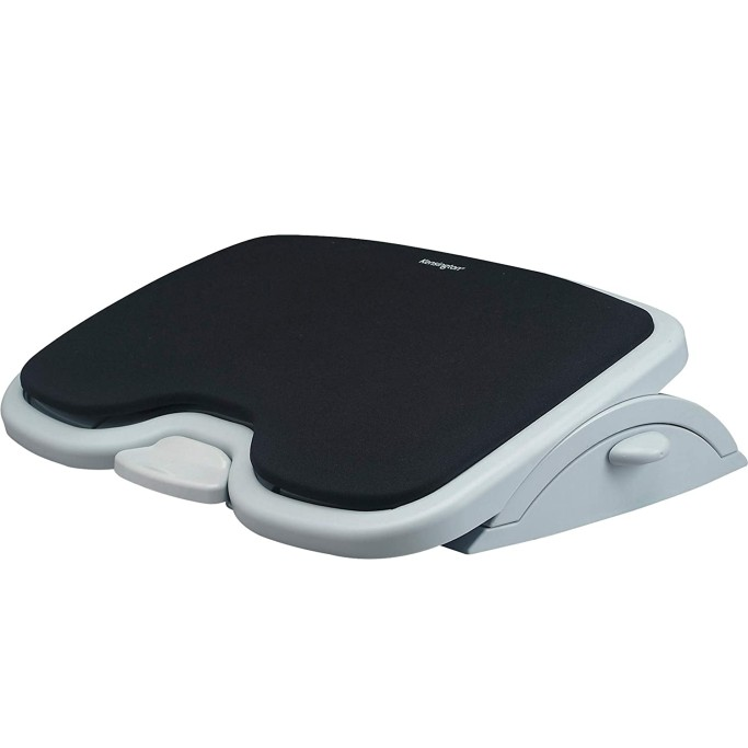 his style features a memory foam padded surface that molds to the contours of your feet. The height adjusts from 3.5 to 5 inches tall, while the angle adjusts up to 30 degrees for individual comfort. Pros: A convenient foot pedal lets you adjust the tilt without leaving your chair. Anti-skid grips on the bottom ensure the unit stays firmly in place. Cons: Some may find the plastic construction could be sturdier. Kensington Comfort Memory Foam Adjustable Footrest, under desk footrest