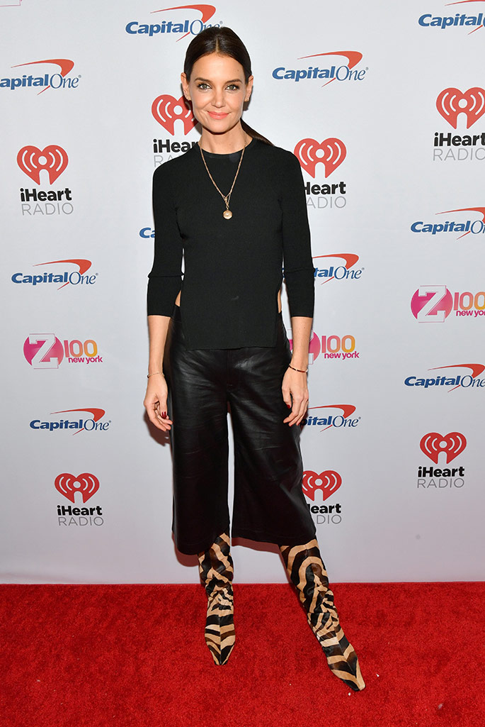 Katie Holmes wearing boots by Khaite.