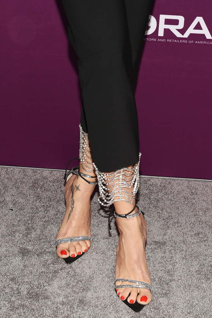 Adriana Lima, sandals, pedicure, gianvito rossi shoes, red carpet, shoe style, 33rd Annual Footwear News Achievement Awards, Arrivals, New York, USA - 03 Dec 2019