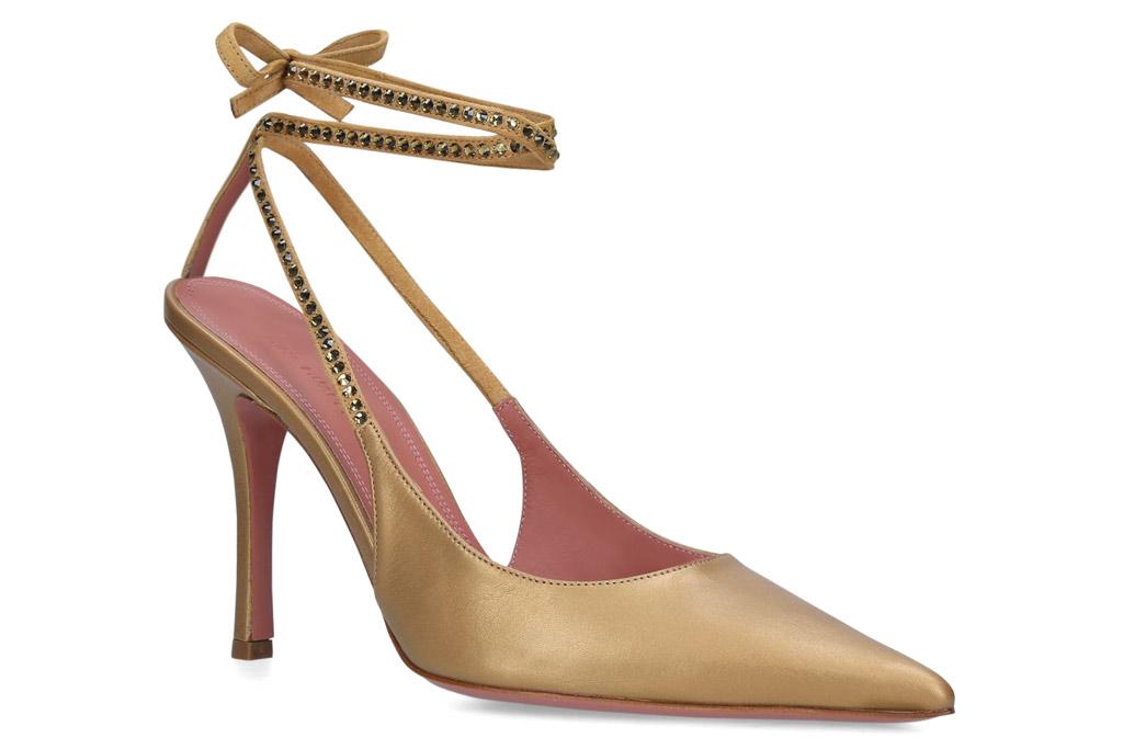 Amina Muaddi , gold pumps, stilettos, strappy heels, karma