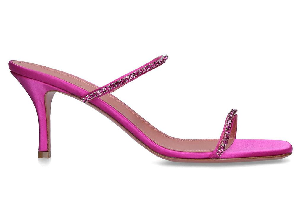 Amina Muaddi, pink sandals, gilda, harrods