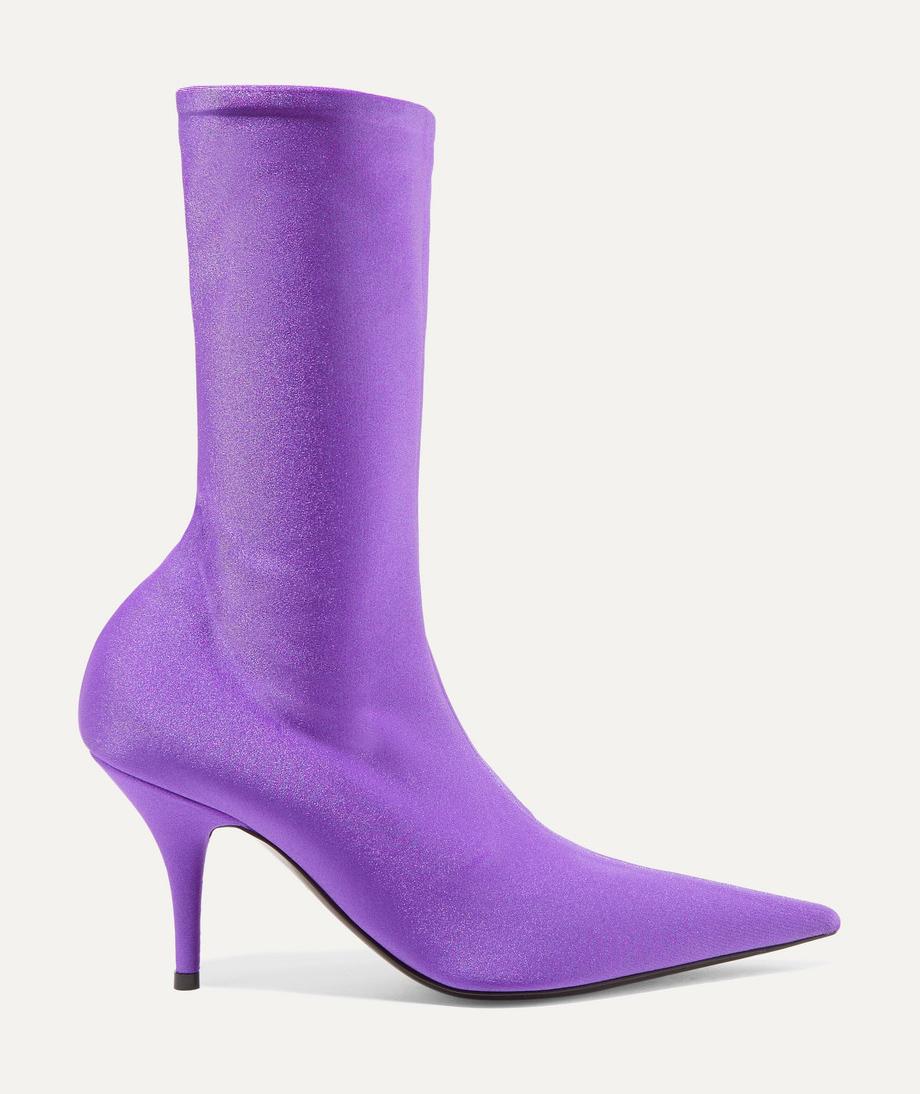 Knife spandex sock boots, balenciaga, purple boots