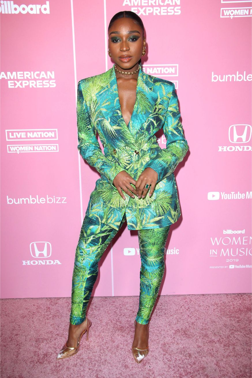 at the 2019 Billboard Women in Music in Los Angeles, Dec. 12, normani, versace, pvc heels