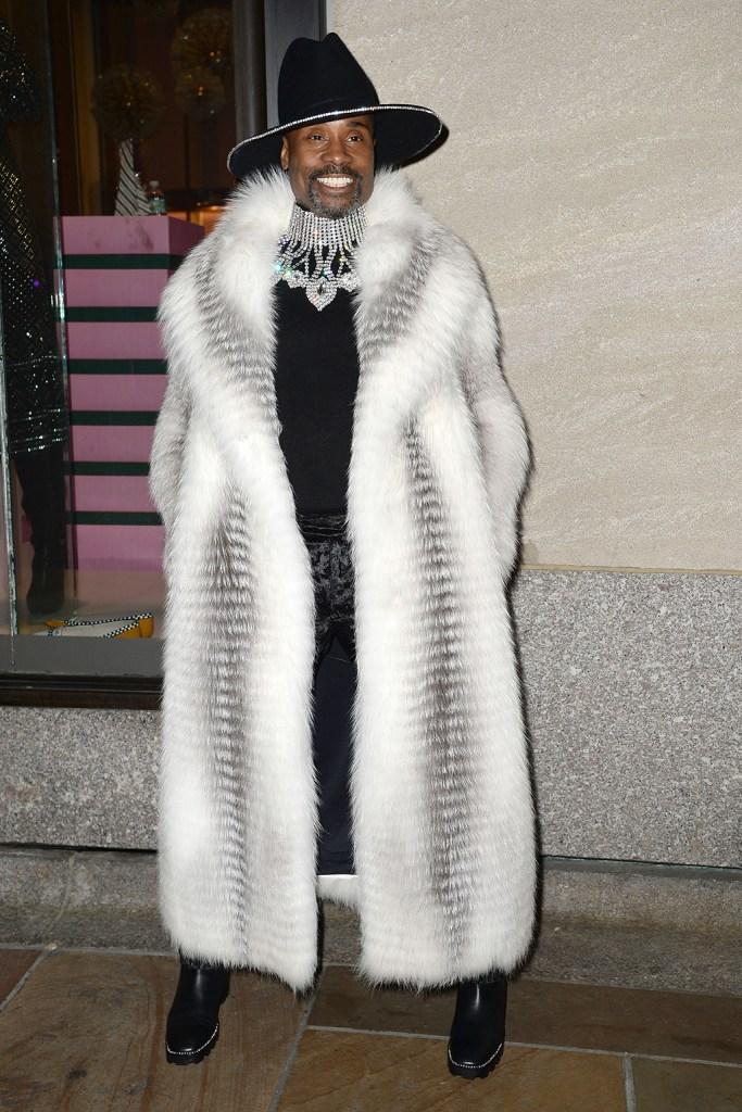 Billy Porter, helen yarmak, fox fur, fur coat, black boots, celebrity style, wide hat, crystal necklace, 87th Annual Rockefeller Center Christmas Tree Lighting Ceremony, New York, USA - 04 Dec 2019