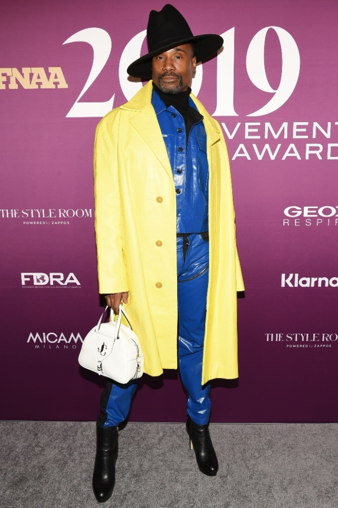 Billy Porter, yellow jacket, heels, red carpet, 2019 FNAAs, footwear news achievement awards