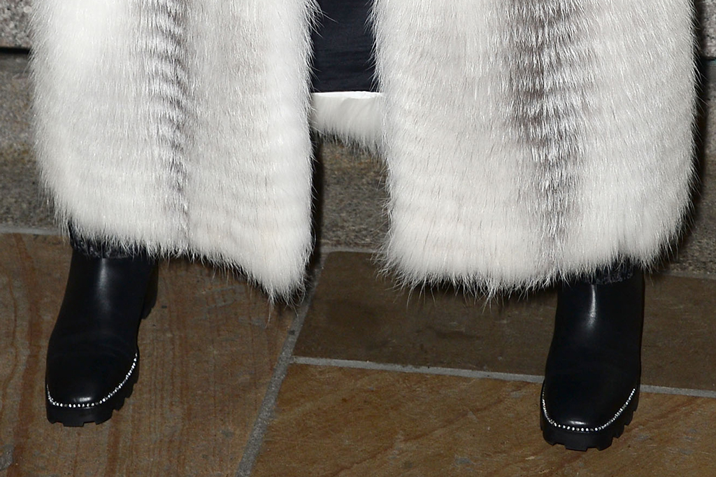Billy Porter, boots, shoe detail, helen yarmak, fox fur, fur coat, black boots, celebrity style, wide hat, crystal necklace, 87th Annual Rockefeller Center Christmas Tree Lighting Ceremony, New York, USA - 04 Dec 2019
