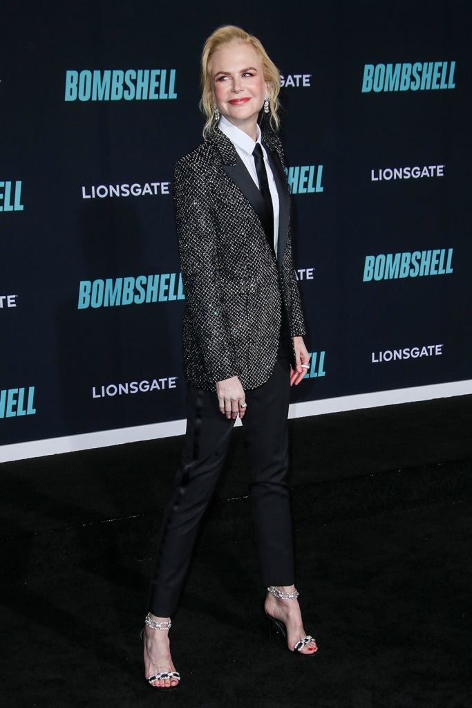 Nicole Kidman, tuxedo, saint laurent spring 2020, red carpet, sandals, stella luna shoes, 'Bombshell' film premiere, Arrivals, Regency Village Theatre, Los Angeles, USA - 10 Dec 2019Wearing Saint Laurent Same Outfit as catwalk model *10421944y