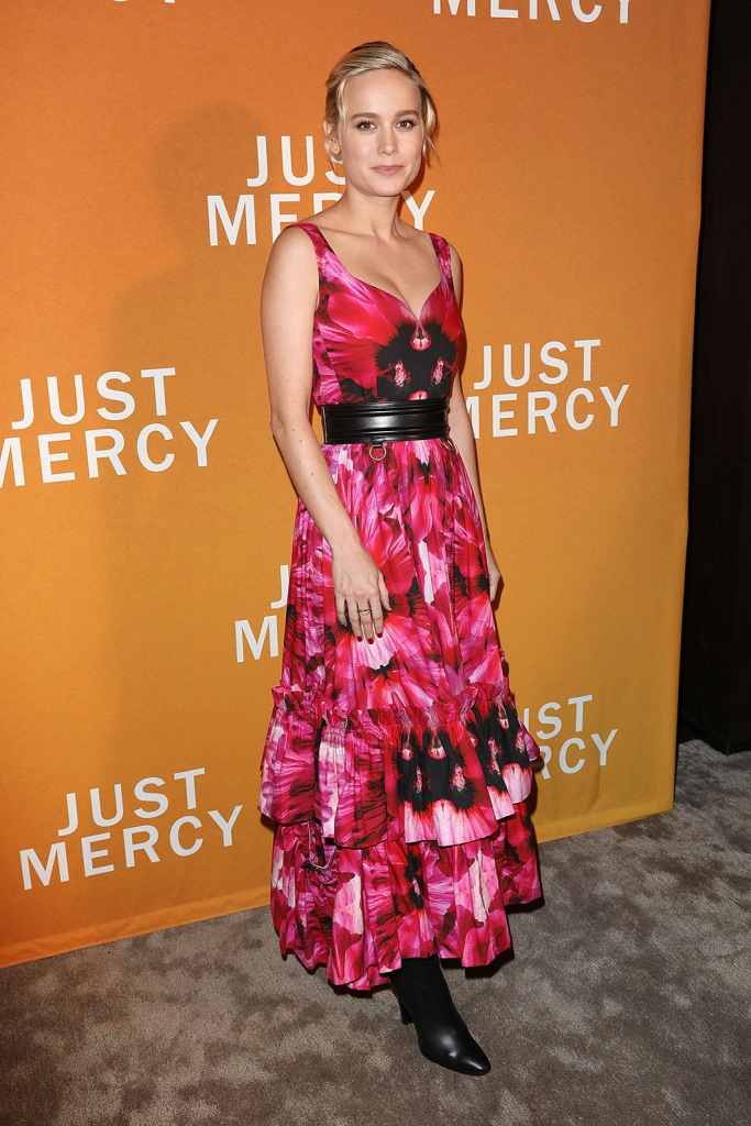 "Brie Larson, alexander mcqueen spring 2020, pink dress, floral dress, celine boots, black boots, red carpet, just mercy, A Celebration for ""Just Mercy"" with a Conversation with the Cast and Writer Bryan Stevenson, New York, USA - 15 Dec 2019Wearing Alexander McQueen"
