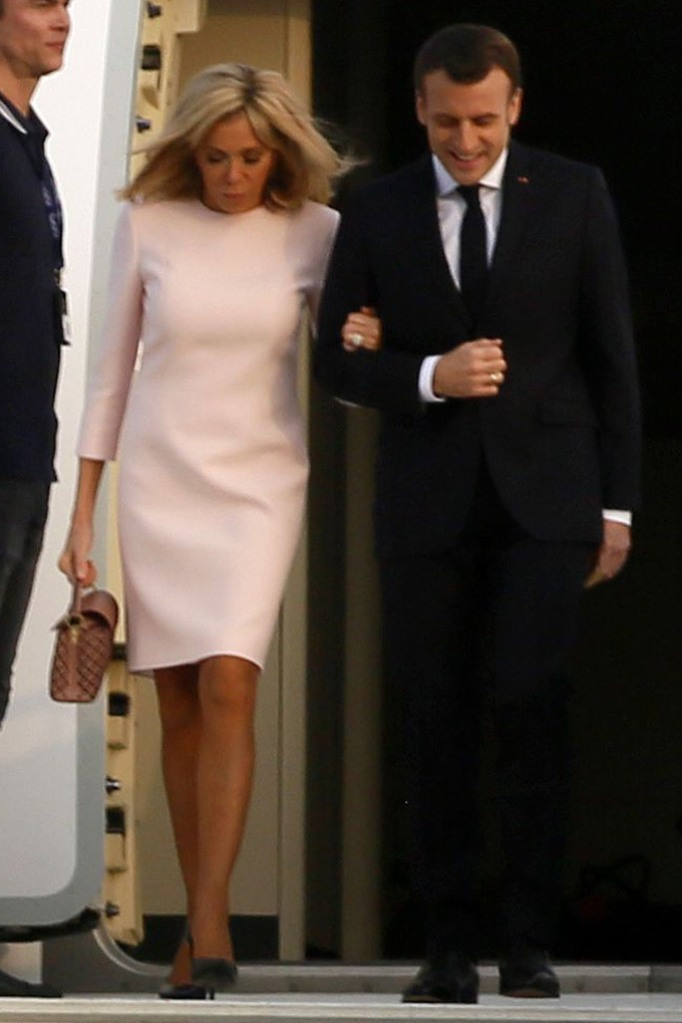 Brigitte Macron, pink dress, black pumps, emmanuel macron, Abidjan, Ivory Coast,